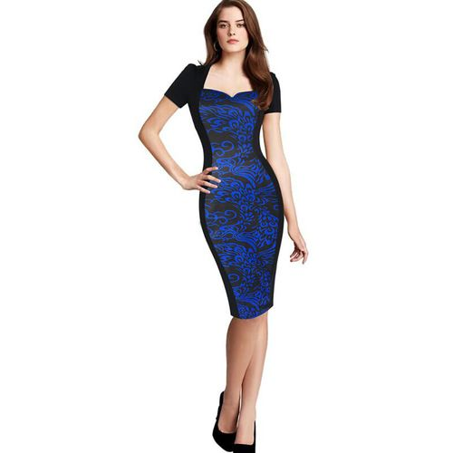 Black and blue pattern bodycon dress | 50% Off | On Sale