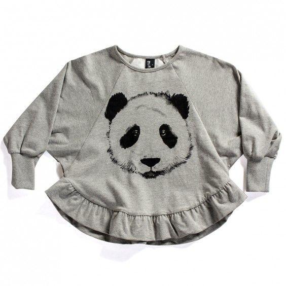 Minti Frill Crew Painted Panda - Grey Marle - Minti - Shop by Brand - Ragamuffins New Zealand