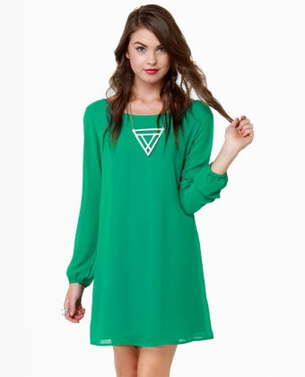 Dinner for Two Green Shift Dress from Lulu's