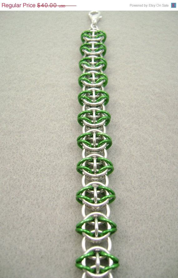 Sale Green Bracelet Celtic Chain Maille by kmajewelrydesigns, $30.00