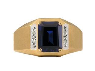 Yellow Gold and Diamond Men's Sapphire Octagon Cut Ring (Online at Gemologica.com)Sapphire Rings, Diamonds Men, Yellow Gold, Octagon Cut, Rings Online, Gemstones Rings, Emeralds Rings, Men Rings, Cut Rings