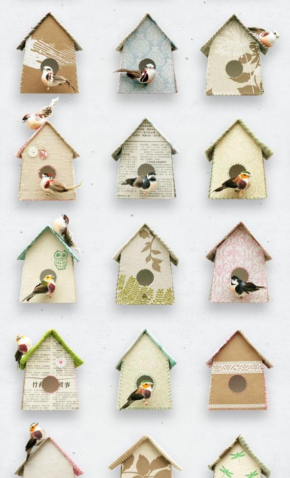 Behang met vogelhuisjes