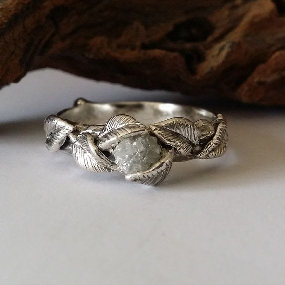 Twig and Leaf Engagement Ring Wedding Band by DawnVertreesJewelry
