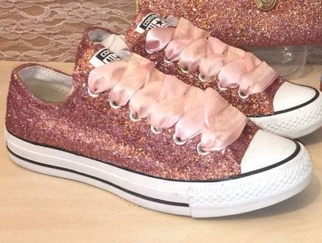 Custom Made Rose Gold glitter Converse shoes by StuddedHeartsShop ... a1723ceea0