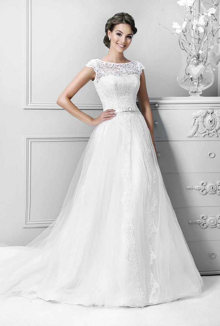 svatební šaty tylová sukně krajkové s rukávy Agnes 14330