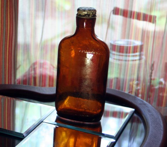 Midcentury Half Pint Brown Glass Liquor by SomethingsWonderful