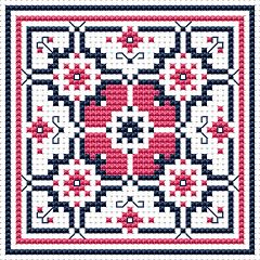Biscornu Free Charts | Cross Stitch Patterns > Various Designs > Dusty Rose Biscornu