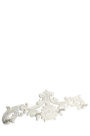 """This washed wooden scroll wall hook, will compliment any classic living space.<div class=""""pdpDescContent""""><BR /><b class=""""pdpDesc"""">Dimensions:</b><BR />L80xW9xH25 cm</div>"""