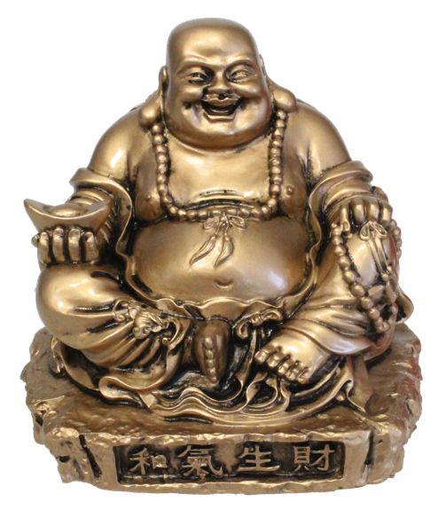 56778-Bouddha rieur en résine dorée