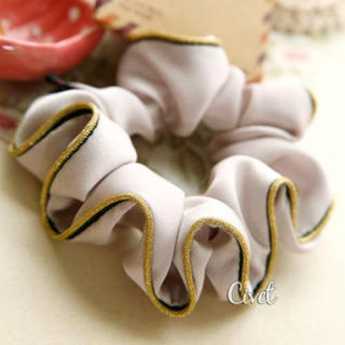 Contrast-Piping Hair Tie Khaki - One Size