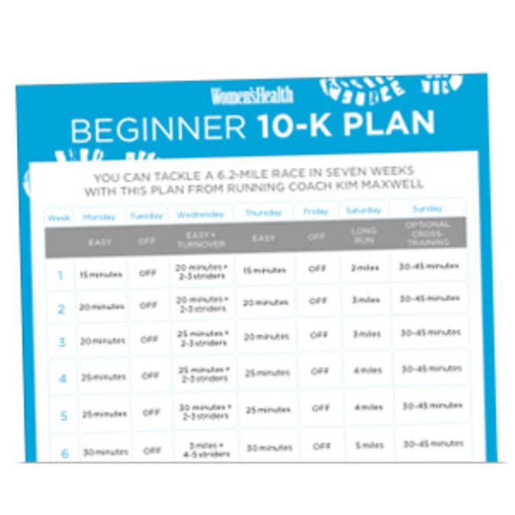 A 10-K training schedule meant for newer runners or those running their first 10-K