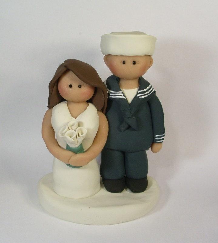 Navy Sailor Wedding Cake Topper. $58.00, via Etsy.