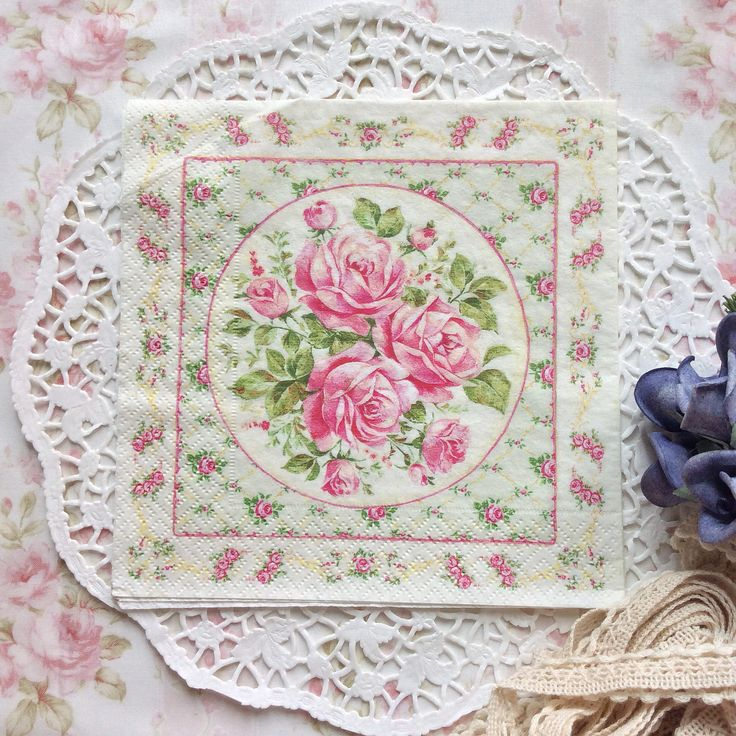 Napkin Papers Serviettens Decoupage Tissue  Shabby Chic Roses 33x33 cm (1/4 folded)  IDR 15.000/pc Send me your inquiry to yufihandcrafted@gmail.com   Shabby Chic Victorian Cottage Vintage Retro Rose Floral Flower Paper Napkins   And get a special discount on bulk order!