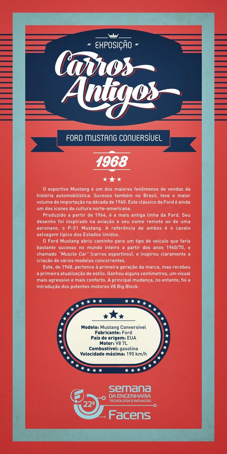 Banner 90x180 Exposição de Carros Antigos - Ford Mustang.   Desenvolvido pela Atua Agência para a Faculdade de Engenharia de Sorocaba Facens.
