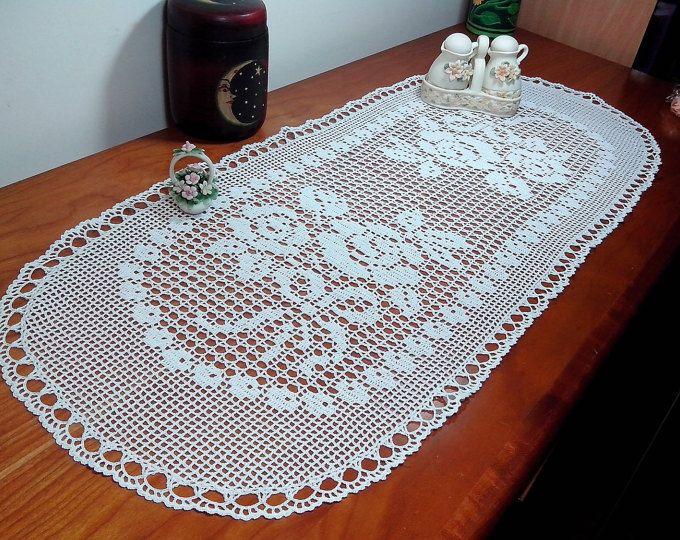 Centro pizzo a uncinetto ovale copritavola tovaglietta fatto a mano centrino bianco centrotavola ovale 88 cm x 36 cm arredamento casa