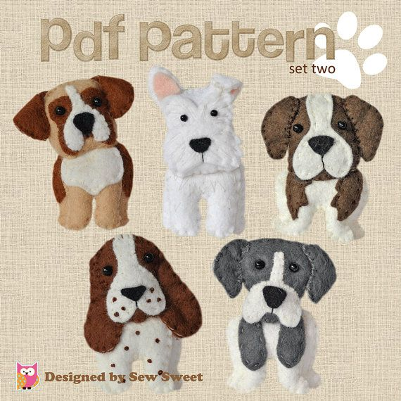 Perros de peluche lindos patrón de costura conjunto por sewsweetuk