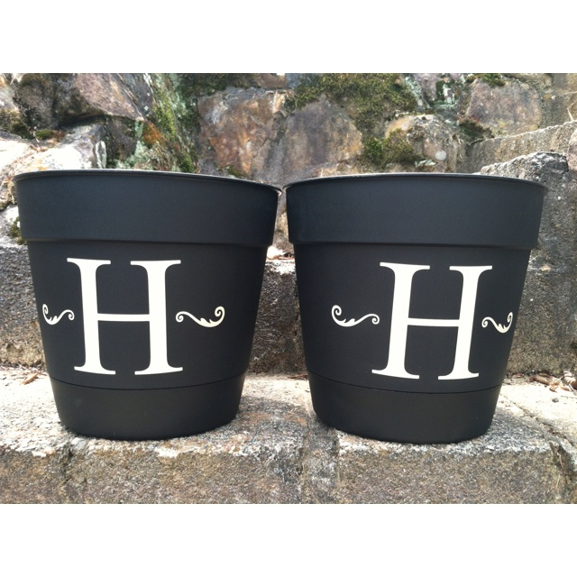 More plastic flower pots we adders the initials too.