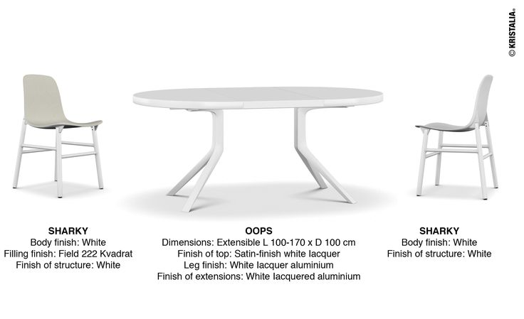 #totalwhite #whitefurniture #whitetable #whitachair OOPS Dimensions: Extensible L 100-170 x D 100 cm Finish of top: Satin-finish white Iacquer Leg finish: White Iacquer aluminium Finish of extensions: White Iacquered aluminium  SHARKY  Body finish: White Filling finish: Field 222 Kvadrat Finish of structure: White  SHARKY Body finish: White Finish of structure: White