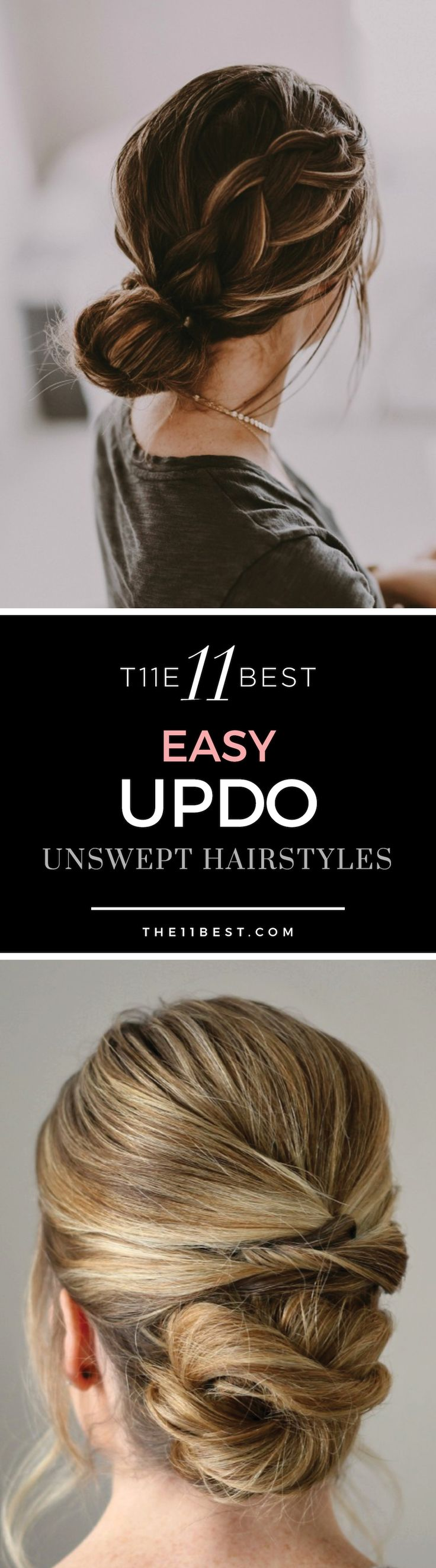 These stunning upswept hairstyles can be done in just minutes with little effort. From braided buns to a messy pretzel chignon. Braid ideas. Loose updo. DIY formal bun hairstyle.