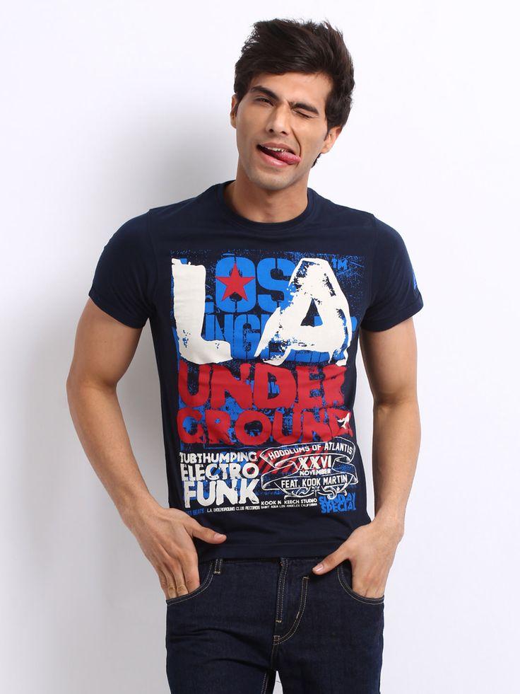 Kook N Keech Men Navy Printed La T Shirt