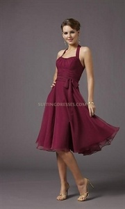 Amazing Chiffon Wine Red Halter Knee Length Scoop 2011 Cocktail Dress $98.00