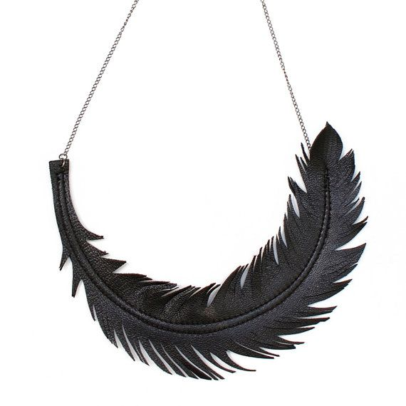 "Feather Necklace, Black Leather Feather Jewelry, ""RAVEN"" Statement Necklace by Loveatfirstblush"