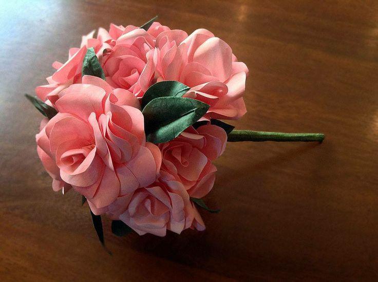 Bridesmaid paper rose bouquet - Rose in carta, bouquet da damigella - #paper #flowers #flower #paperflowers