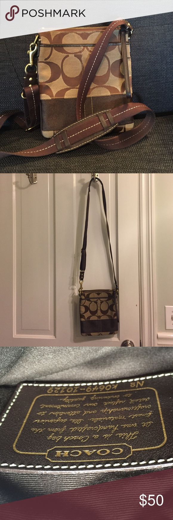 Coach Crossbody Bag Super functional, small sized bag in great condition. Zippered inside pocket and handy outer pocket for keys or phone. Canvas with leather trim, adjustable strap. Coach Bags Crossbody Bags