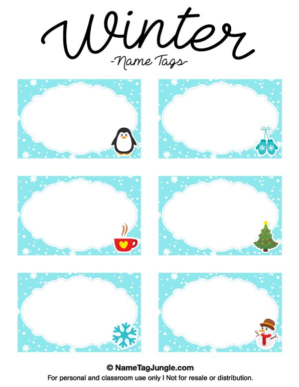 Free printable winter name tags. The template can also be used for creating items like labels and place cards. Download the PDF at http://nametagjungle.com/name-tag/winter/