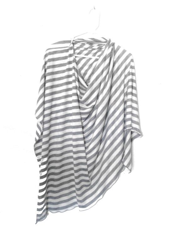 RESERVED FOR CRYSTAL Grey Striped Nursing Cover-Full Coverage-Poncho-Modern-Privacy-Breastfeeding on Etsy, Sold