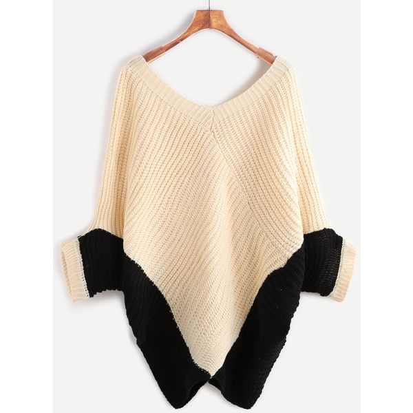 Color Block Double V Neck Batwing Sleeve Sweater (2820 RSD) ❤ liked on Polyvore featuring tops, sweaters, double v neck sweater, batwing sleeve tops, beige sweater, color block sweater and block sweater