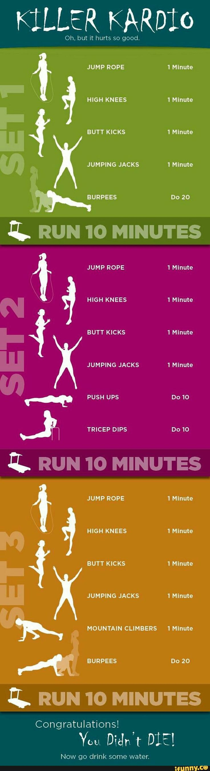 Killer cardio workout, about one hour