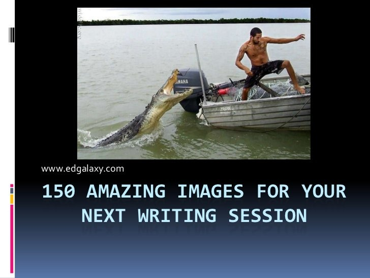 150 Amazing Writing prompts Pictures by Kevin Cummins, via Slideshare. Great idea! Haven't previewed all of these yet but looked through several - some amazing, some weird, some gross... But definitely prompts the imagination!
