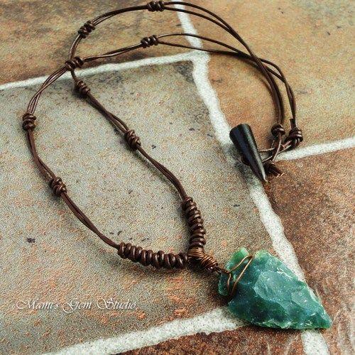 Green Jasper Stone Arrowhead Brown Leather Choker Necklace for Men   Mamis_Gem_S...