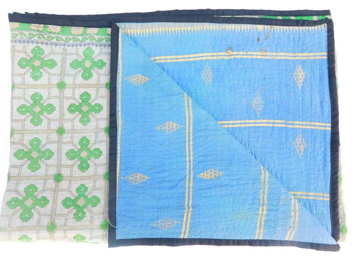 Kantha Bedspread Quilt Handmade Patchwork Blanket Twin Bed Cover India XZ85 #Handmade #AsianOriental