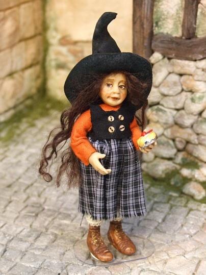 Witch child, original OOAK miniature 1/12th dollhouse size by Silke Janas-Schloesser