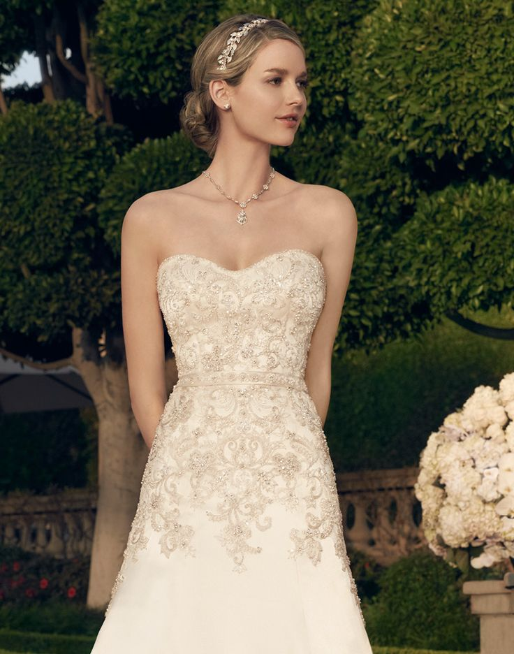 Casablanca This A Line Shaped Silhouette Gown Has Modified Sweetheart Neckline And The Bodice Is Encrusted With Beadwork Embroidery On Tulle Over