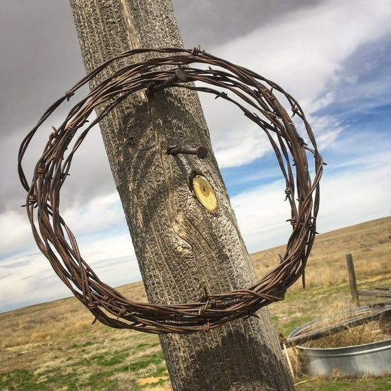 vintage rusty Barbed Wire Barb Wire Wreath Rusty Barbed Wire Wedding Decor Western Decor Craft Supply