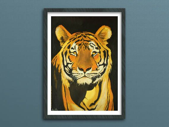 Tijger schilderij muurdecoratie printable kunst poster instant