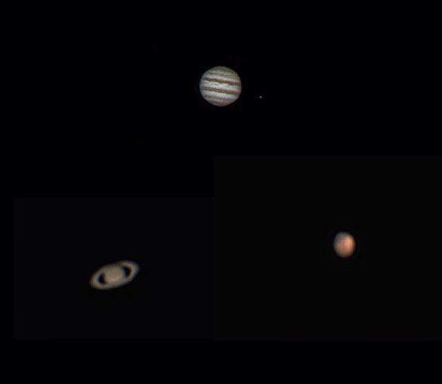 """On instagram by astro_aerospace #astrophotography #contratahotel (o) http://ift.tt/1pUGqX7 is what Jupiter Saturn and Mars look like through a 6"""" telescope. I got to capture these beautiful planets tonight using a ZWO Asi120mc camera. The pics are not the highest resolution I know but I hope you still enjoy it. #jupiter #saturn #mars #telescope  #skywatcher #6inchf8 #dobson #zwoasi120mc #firecapture #registax #amateurastronomy"""