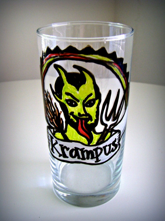 Krampus Glass Holiday Drinkware Painted Folk Tumbler by sewZinski, $14.00