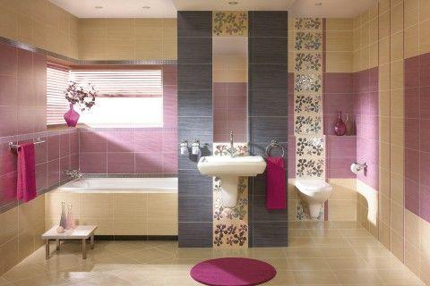 Koncepcja romantycznej łazienki w lekkim różowym kolorze: http://www.kwadroceramika.com/pl/produkty/plytki_lazienkowe/firletka_szafirek