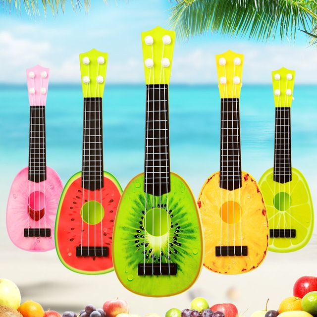 Fashion Fruit plastic Guitar Ukulele Musical Instrument Educatonal Toys Baby kids Musical toy guitar Birthday Creative Gifts