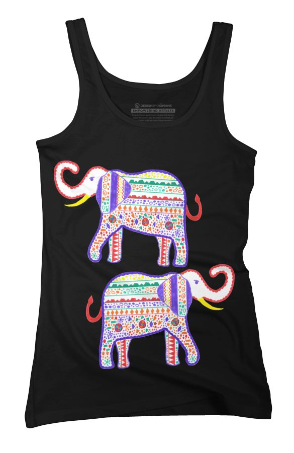 Elephant painted markers Womens Tank Top