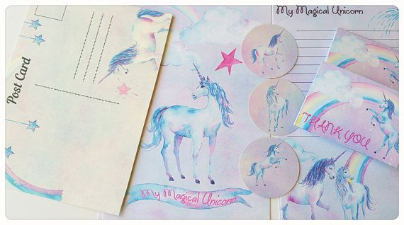Check out this item in my Etsy shop https://www.etsy.com/listing/513102564/sale16xmagical-unicorn-letter-writing