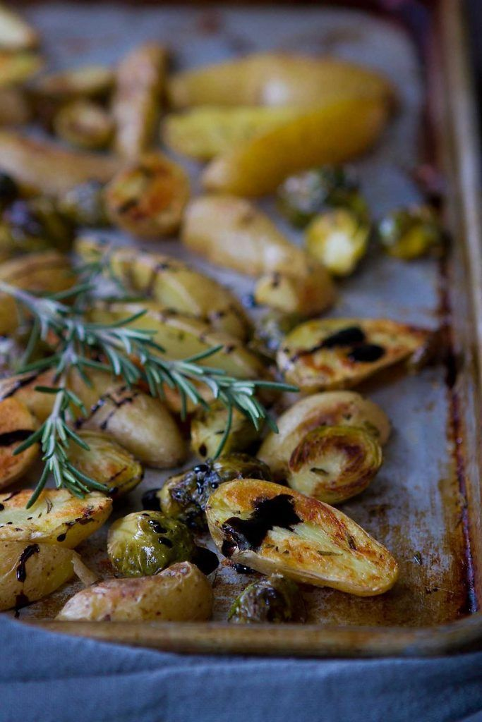 Crispy roasted fingerling potatoes with Brussels sprouts and a balsamic glaze are perfect for any holiday or wintertime meal. 136 calories and 4 Weight Watchers SmartPoints