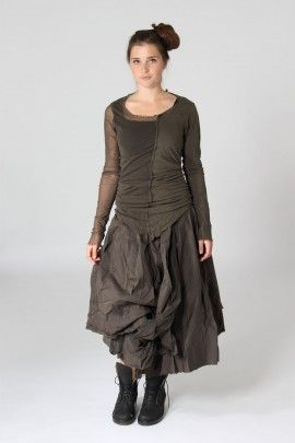 Shirt with tulle - olive