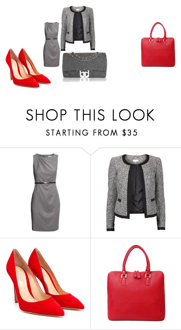 """""""Morning shopping"""" by jeanstapley ❤ liked on Polyvore featuring H&M, Vila Milano, Gianvito Rossi, Ella Valentine and Chanel"""