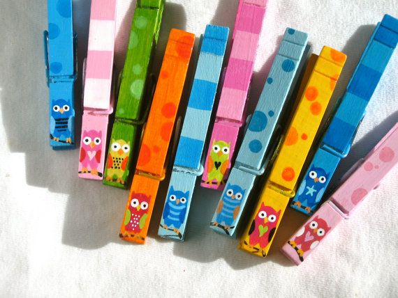 10 OWL CLOTHESPINS hand painted magnetic pegs by SugarAndPaint