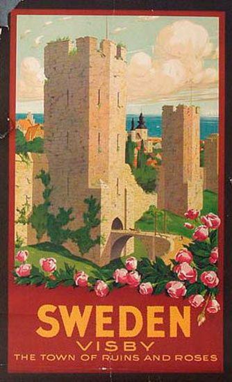 DP Vintage Posters - Sweden Visby Town of Roses and Ruins Original Vintage…